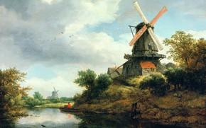 Картинка картина, Якоб ван Рёйсдал, Пейзаж с Ветряной Мельницей на Берегу Реки, Jacob van Ruisdael