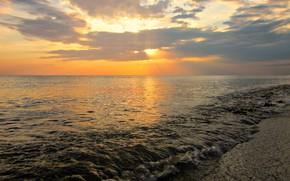 Обои Облака, Пляж, Солнце, Закат, Море, Чёрное море, Россия