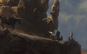 Картинка горы, погоня, стрельба, всадник, Bad road, war car west