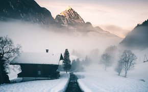 Обои mountain, morning, alps, switzerland, mist