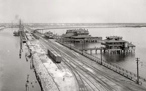 Обои США, 1900-й год, пирс, поезд, корабль, ретро