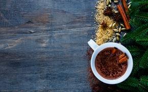 Картинка ветки, hot, cup, chocolate, cocoa, специи, горячий шоколад, fir tree