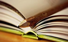 Картинка фон, книга, карандаш