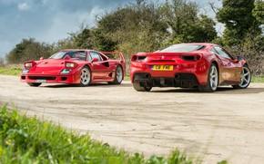 Обои Ferrari, Феррари, дорога, F40, фон, GTB, 488