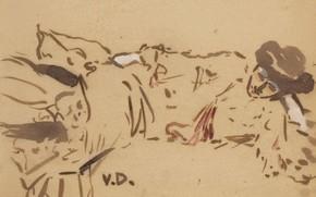 Картинка фовизм, Кес ван Донген, Лежащая женщина, краска и гуашь на бумаге