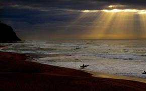 Картинка море, облака, лучи, спорт, Австралия, серфер, Ньюкасл, Новый Южный Уэльс