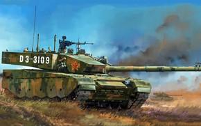 Обои ZTZ-99A, серийная модификация, 3 поколения, современный китайский основной боевой танк, Type 99A