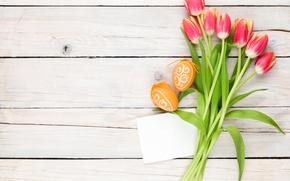 Картинка Пасха, тюльпаны, wood, tulips, spring, Easter, eggs, decoration, Happy, tender