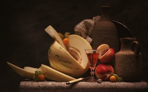 Картинка вино, бокал, нож, кувшин, персик, дыня