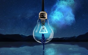 Картинка кошка, небо, лампочка, вода, ночь, природа