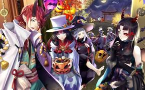Обои арт, ночь, хеллоуин, аниме, праздник
