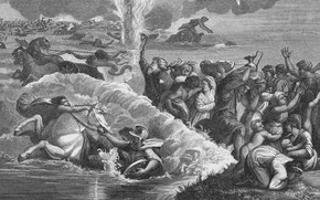 Картинка люди, лошади, повозки, Crossing the Red Sea