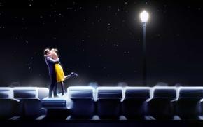 Картинка пианино, La La Land, небо, Ryan Gosling, мюзикл, Эмма Стоун, пара, Ла-Ла Ленд, свет, креатив, ...