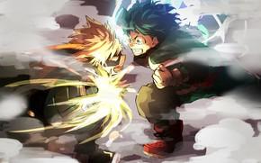 Картинка аниме, арт, парни, сражение, Boku no Hero Academia
