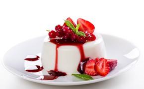 Картинка ягоды, крем, десерт, сироп, Panna cotta