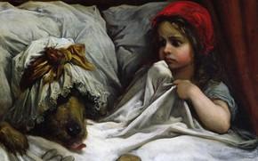 Картинка волк, сказка, картина, девочка, Красная Шапочка, Paul Gustave Dore, Гюстав Доре