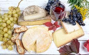 Картинка листья, вино, бокал, сыр, хлеб, виноград, wine, grapes, bread, cheese