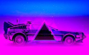 Обои Авто, Музыка, Неон, Машина, Треугольник, DeLorean DMC-12, DeLorean, DMC-12, DMC, Electronic, Synthpop, Darkwave, Synth, Retrowave, ...