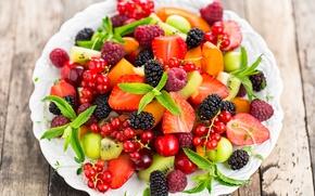 Картинка ягоды, малина, клубника, фрукты, смородина, салат, dessert, fruit salad