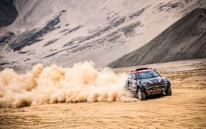 Картинка Песок, Mini, Пыль, Спорт, Пустыня, Скорость, Гонка, Rally, Dakar, Дакар, Внедорожник, Ралли, X-Raid Team, MINI …