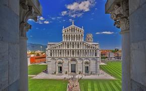 Обои Пиза, Италия, вид из баптистерия, башня, Тоскана, собор