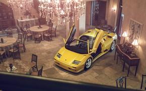 Картинка Lamborghini, Yellow, Diablo, Supercar, Doors