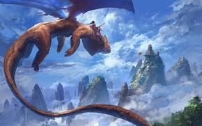 Обои Thomas Chamberlain - Keen, dragon, artwork, clouds, painting, digital art, flying, fantasy art, peaks, girl, ...