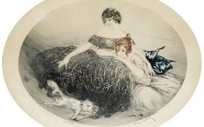 Картинка улыбки, белая кошка, 1924, Louis Icart, арт-деко, офорт и акватинта