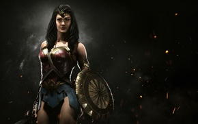 Обои strong, fire, Diana, shield, film equipment, special equipment, blade, Injustice 2, DC Comics, warrior, gauntlet, ...