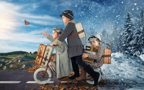 Обои зима, дорога, осень, снег, дети, бабочка, листва, девочки, butterfly, winter, autumn, чемоданы, children, самокат
