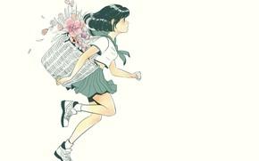 Картинка цветы, корзина, ботинки, девочка, белый фон, школьница, бежит, матроска