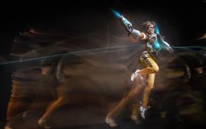 Картинка girl, gun, game, weapon, brown hair, cosplay, uniform, seifuku, Overwatch, Tracer