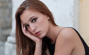 Картинка girl, long hair, brown eyes, photo, eyes, photographer, brown, model, bokeh, lips, face, portrait, mouth, …