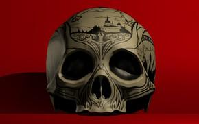 Картинка фон, рисунок, череп, глазницы