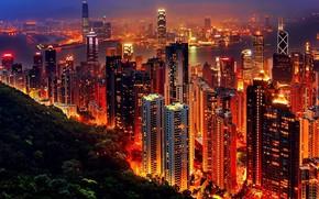 Картинка ночь, город, огни, здание, панорама, Hong Kong