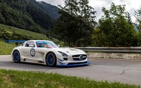 Обои GT3R, SLS, White, Mercedes
