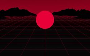 Картинка Солнце, Красный, Музыка, Неон, Круг, Звезда, Electronic, Synthpop, Darkwave, Synth, Retrowave, Синти-поп, Синти, Synthwave, Synth …