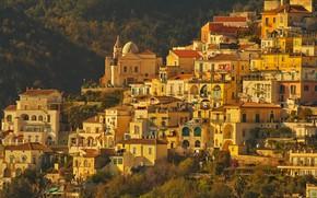 Картинка горы, дома, склон, Италия, Кампания, Виетри-суль-Маре