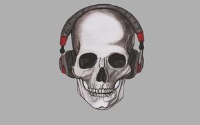 Картинка череп, минимализм, голова, наушники, скелет, skull