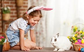 Картинка цветы, кролик, девочка