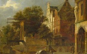 Картинка пейзаж, картина, Ян ван дер Хейден, Разводной Мост