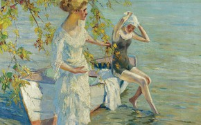 Картинка девушки, лодка, картина, Эдуард Какуел, Edward Cucuel, Купальщицы