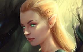 Обои art, профиль, зеленые глаза, fantasy, эльфийка, взгляд
