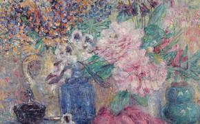 Картинка картина, натюрморт, Жорж Моррен, Цветы и Духи, Georges Morren