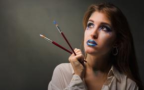 Картинка девушка, макияж, кисти, MARIA