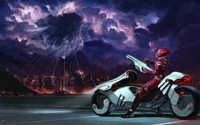 Картинка город, фантастика, мото, арт, захват, пришельцы, jeffrey rex, It Begins