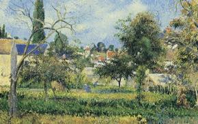 Картинка пейзаж, картина, Камиль Писсарро, Сад Аббатства Мобюиссон. Понтуаз