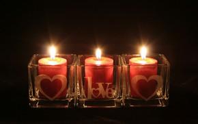 Картинка свет, темный фон, огонь, свечи, Любовь, День Святого Валентина, праздник всех влюблённых