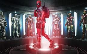 Обои cinema, gun, pistol, armor, weapon, Deadpool, movie, Iron man, film, suit, uniform, seifuku