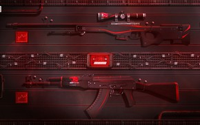 Обои Art, AK-47, Game, Weapons, Sci-Fi, CS:GO, AWP, Redline, Counter Strike:Global Offensive, ibuypower